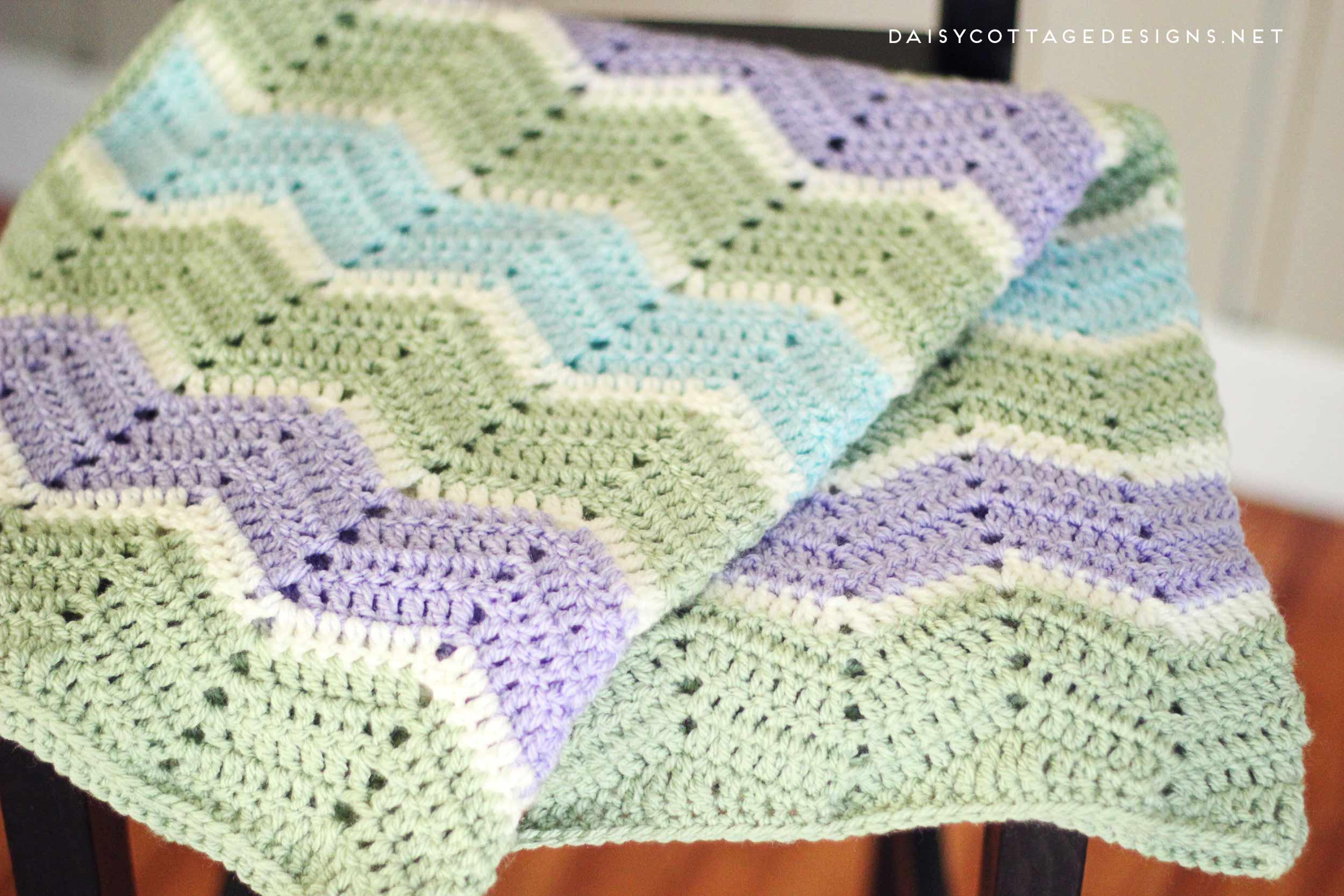 Blanket Crochet Pattern Free to Get You Warmer at Night Easy Chevron Blanket Crochet Pattern Daisy Cottage Designs