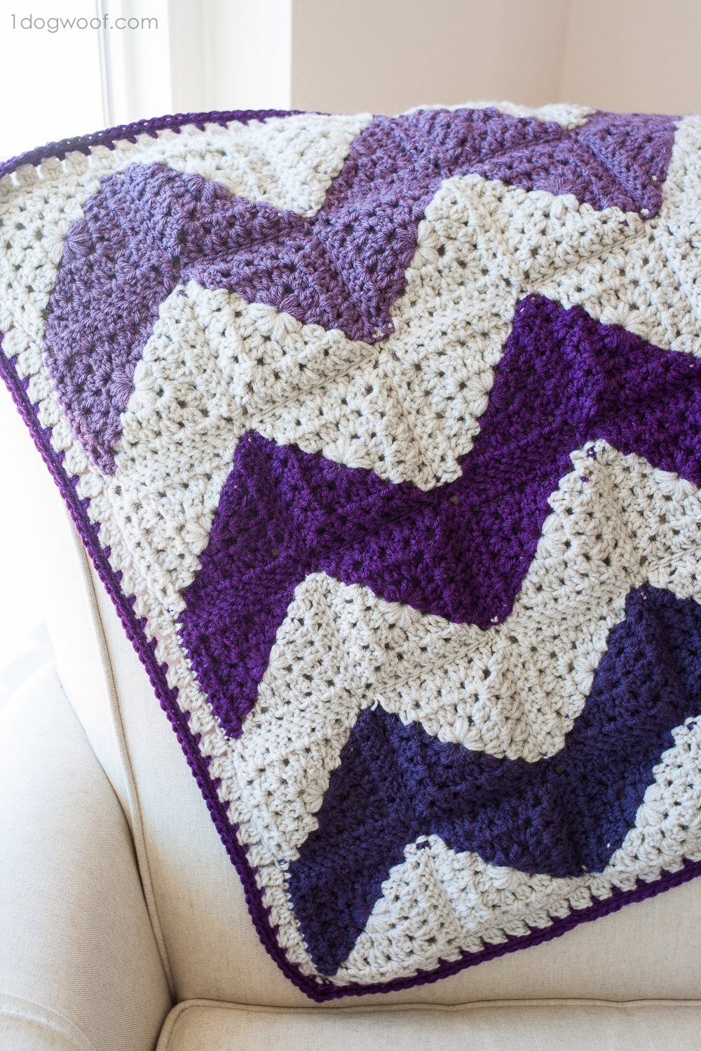 Blanket Crochet Pattern Free to Get You Warmer at Night Granny Squares Chevron Afghan Crochet Pattern One Dog Woof