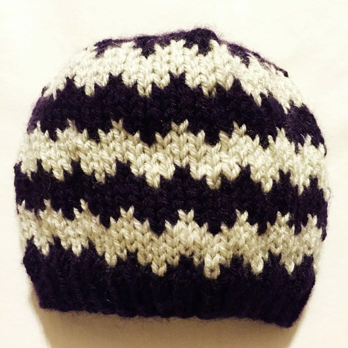 Chevron Knitting Pattern Free Knitting Pattern Quick Knit Chevron Ba Hat Pinss Needles