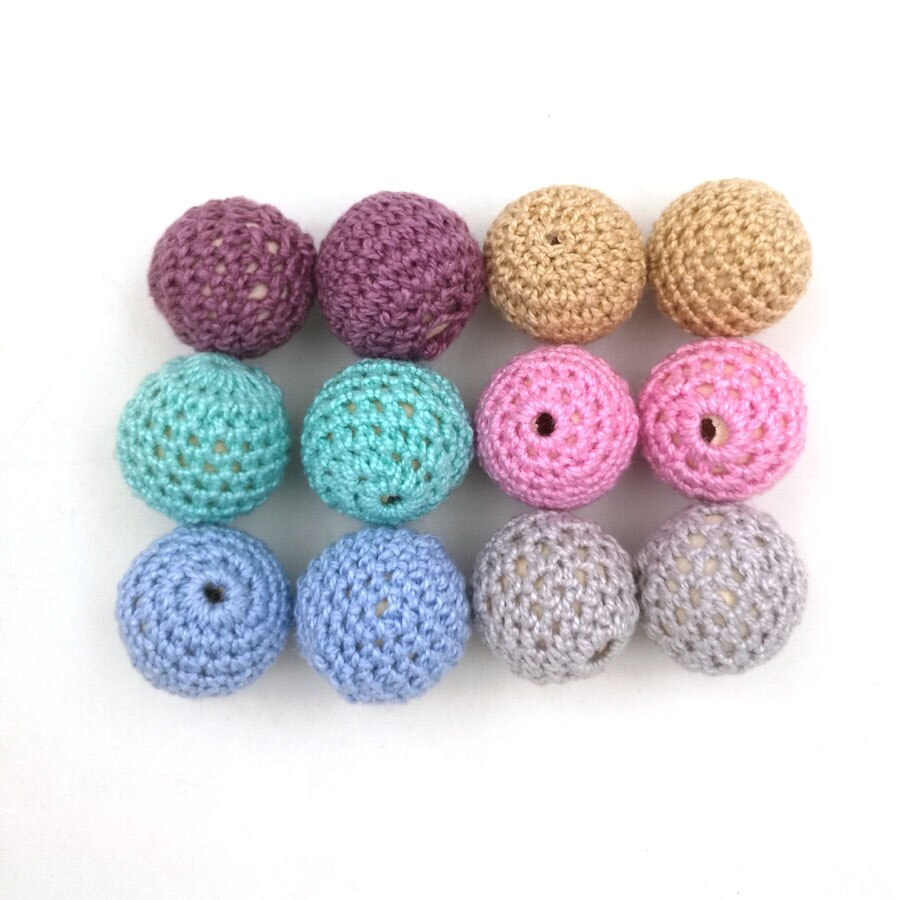 Crochet Ball Pattern Diy Pastel Color Chunky Wooden Crochet Beads 20mm Round Ball Wooden