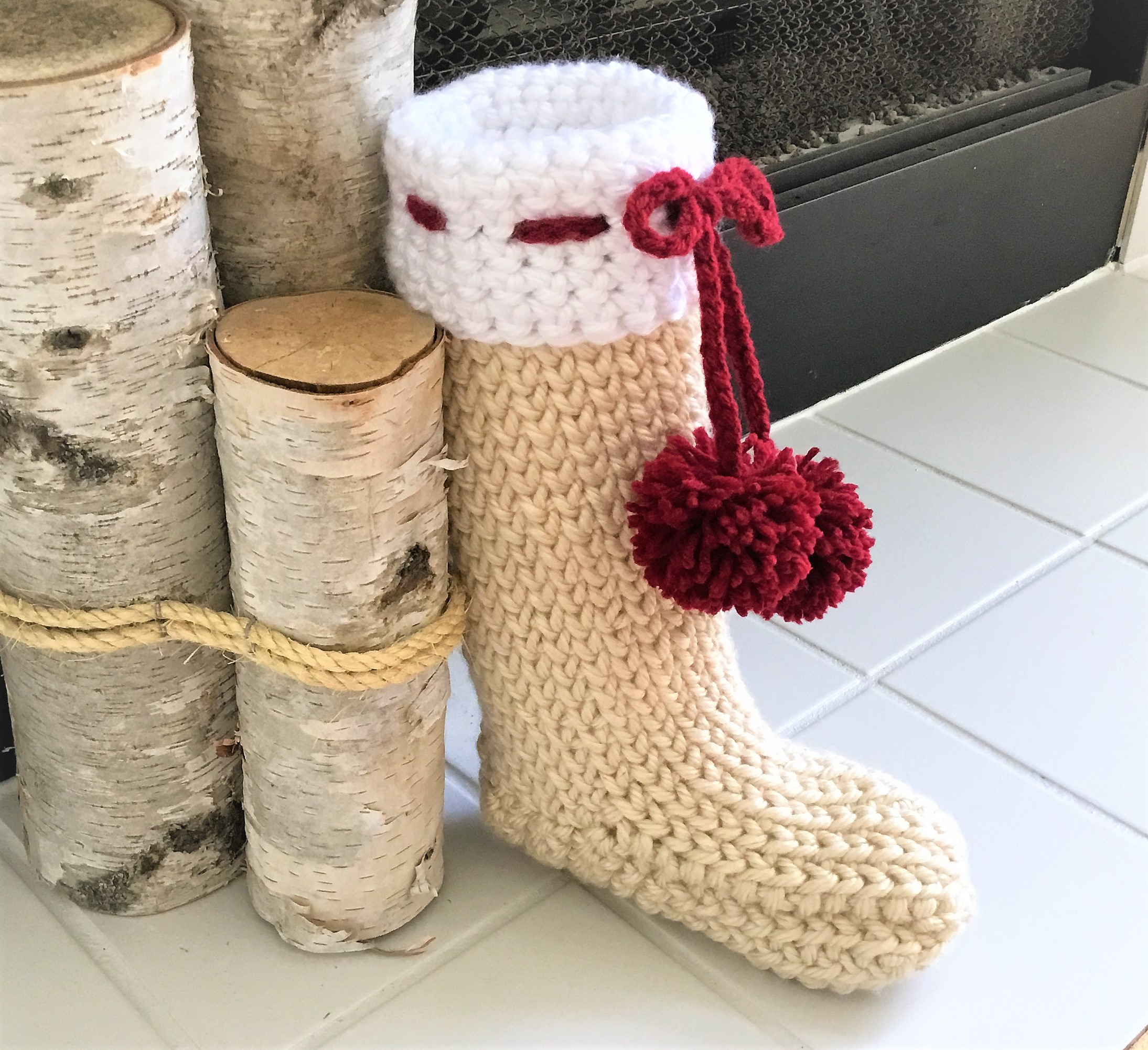 Crochet Stocking Pattern  Farmhouse Christmas Stocking Crazy Cool Crochet