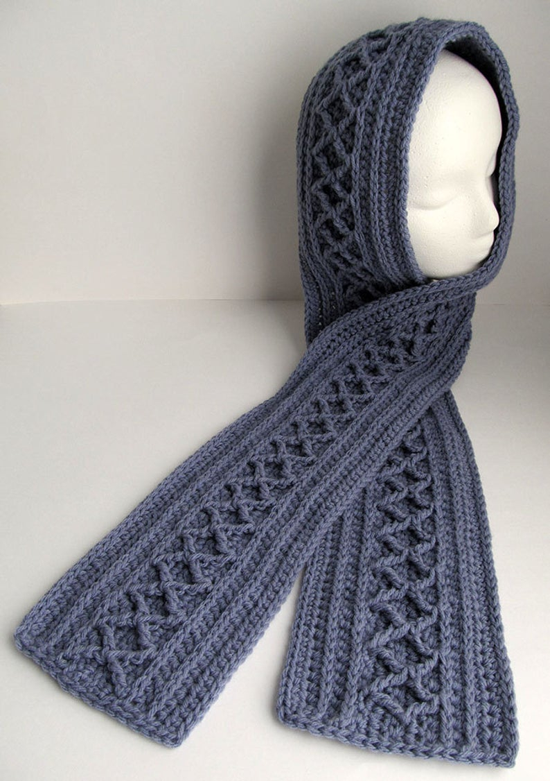 Diamond Crochet Pattern  Crochet Scarf Pattern Diamond Cable Scarf Long Scarf To Etsy