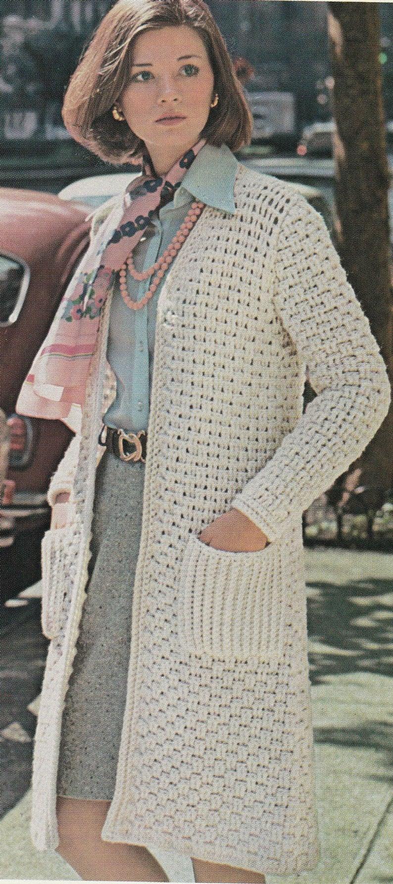Free Crochet Jacket Pattern Designs for All Seasons Long Crochet Jacket Pattern Woven Coat Pattern Vintage Etsy