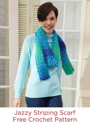 Redheart Crochet Patterns Jazzy Striping Scarf Free Crochet Pattern In Red Heart Super Saver
