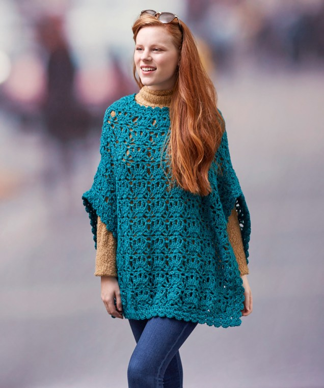 Redheart Crochet Patterns Lets Party Poncho Red Heart