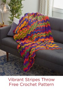 Redheart Crochet Patterns Vibrant Stripes Throw Free Crochet Pattern In Red Heart Super Saver