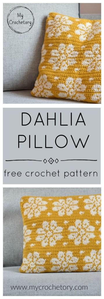 Dahlia Pillow - free crochet pattern with a chart by www.mycrochetory.com