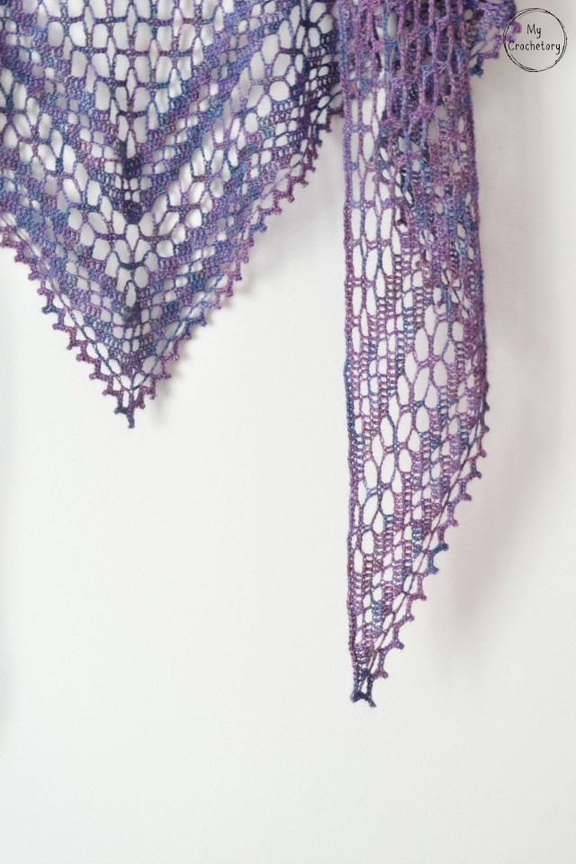 Nightfall Shawl - elegant crochet lace shawl. Free crochet pattern by www.mycrochetory.com