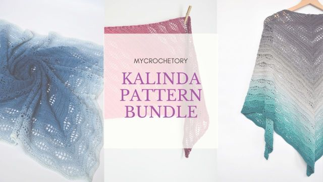 Kalinda Pattern BUNDLE. It contains Kalinda Shawl pattern, Kalinda Blanket pattern and Kalinda Wrap pattern at discounted price.