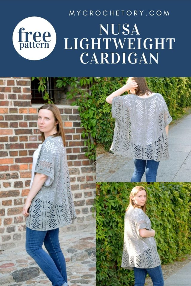 Nusa Lightweight Crochet Cardigan free crochet pattern on my blog. Beautiful and easy summer crochet cardigan.