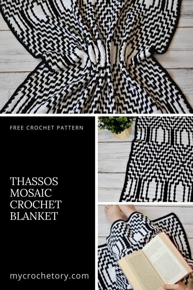 Thassos Mosaic Crochet Blanket - free crochet pattern with step-by-step mosaic crochet tutorial on my blog mycrochetory.com