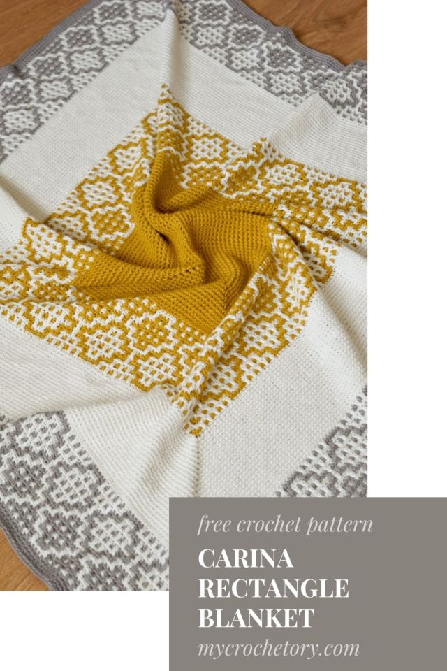 Carina Rectangle Crochet Blanket - free crochet pattern with mosaic crochet step-by-step tutorial.