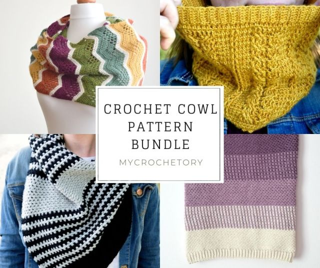 MyCrochetory Crochet Cowl Pattern BUNDLE that includes 4 patterns for one low price.