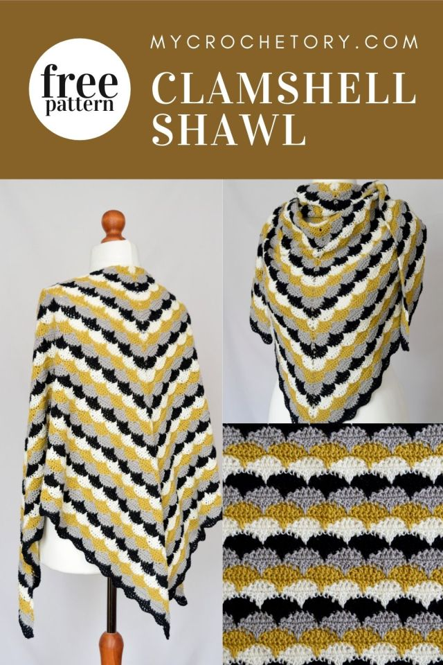 The Clamshell Shawl is the perfect project to get ready for spring! Make one today in your favorite colors! Free crochet pattern on my blog www.mycrochetory.com