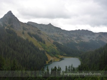 Joe Lake under Huckleberry Mountain. Chikamin in the distance.