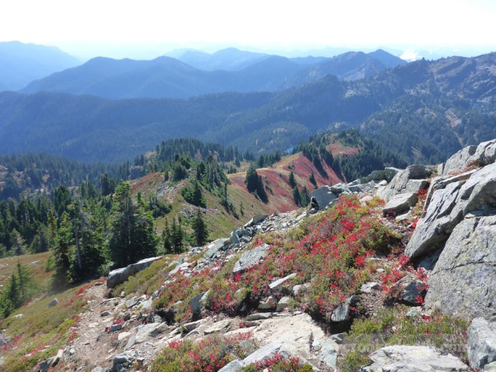 Fall colors down the ridge to Rampart Lakes
