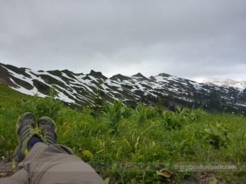 Shoe shot with the White Mountain ridgeline