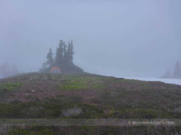 Camp in the mist