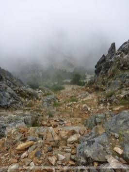 Looking back down the scramble route