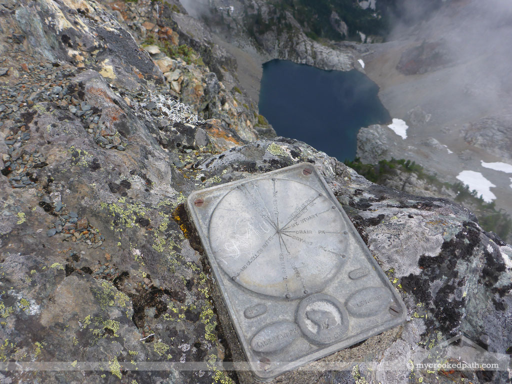 Summit plaque above Chair Peak Lake