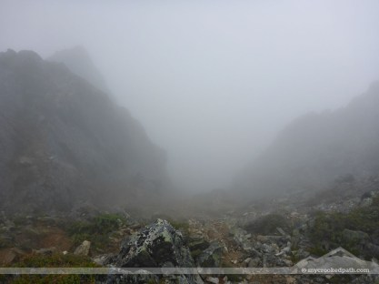 The descent down the scramble route