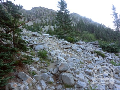 Just follow the boulders