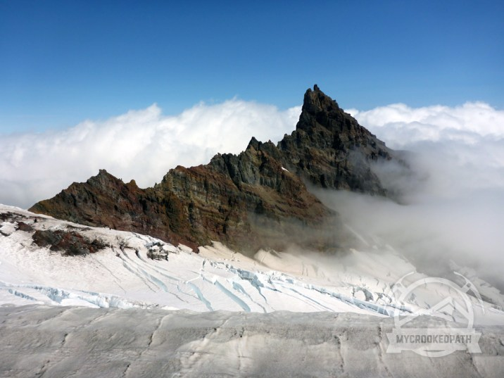 Little Tahoma skirted in clouds