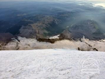 Looking down the Emmons toward Camp Schurman