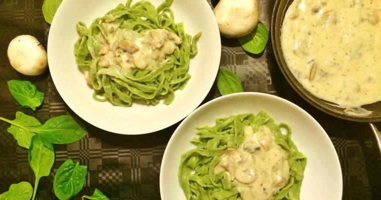 Homemade Spinach Pasta in Mushroom Sauce