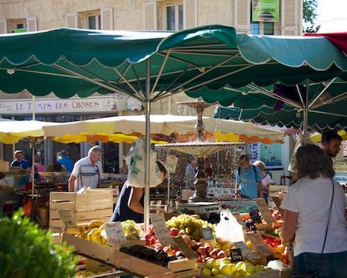 markets with umbrellas