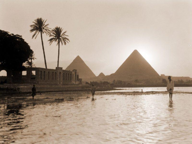 The Nile floods near the pyramids, circa 1930's