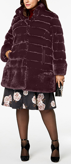 Glamourous plus size long faux fur coats