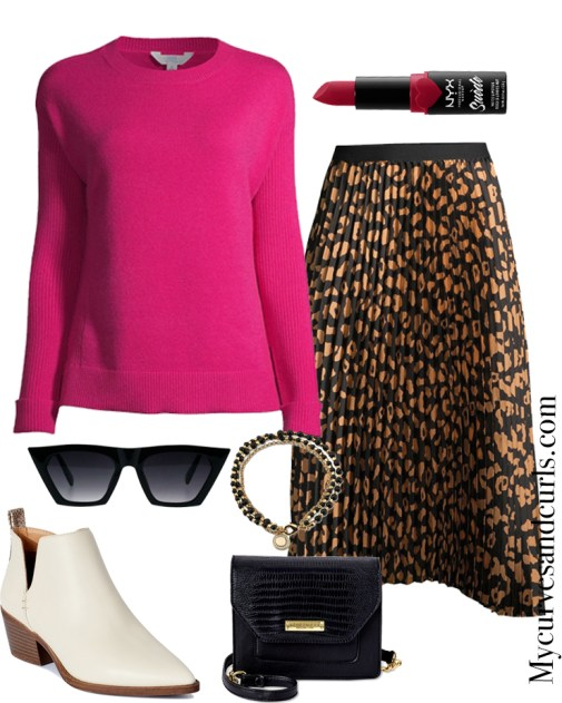 Winter Ready With Walmart Fashion, Valentine's ready: Pink Sweater, Pleated skirt, and White booties