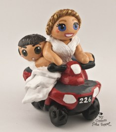 Bride and Groom on an ATV Cake Topper