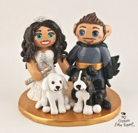 Flutist Bride and Batman Groom Cake Topper