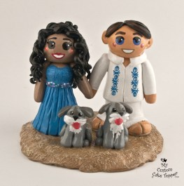 Bride and Groom with Dogs on Beach Cake Topper