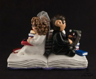 Book Worms Bride and Groom Wedding Cake Topper