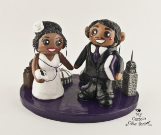 A Tale of Two Cities Bride and Groom Cake Topper