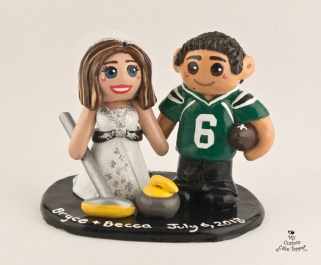 Bride and Groom Curling and Football Cake Topper
