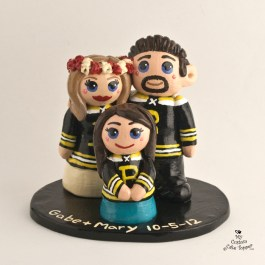 Bride And Groom with Daughter Hockey Wedding Cake Topper