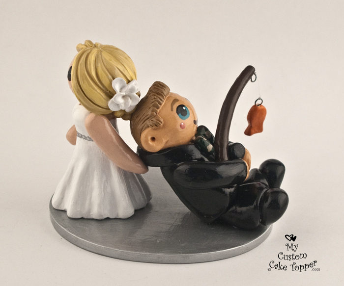 Bride Dragging Her Fishing Groom Wedding Cake Topper My