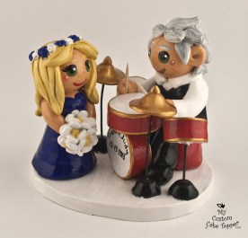 Groom musician playing the drums cake topper