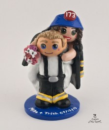 Bride And Groom Fireman Cake Topper