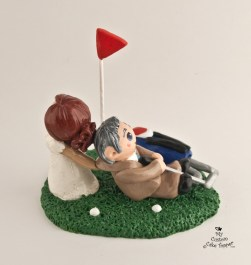 Bride Dragging Golfing Groom Cake Topper