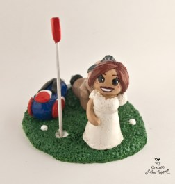 Bride Dragging Groom from Golf Course Cake Topper