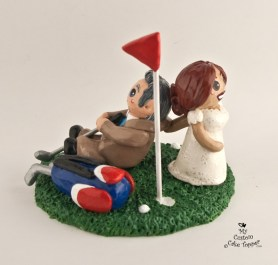 Bride Dragging Groom from Golf Cake topper