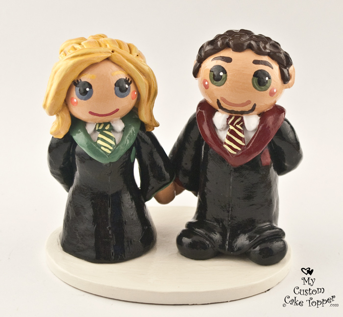 Bride And Groom Harry Potter Wedding Cake Topper   My Custom Cake Topper Bride And Groom Harry Potter Wedding Cake Topper