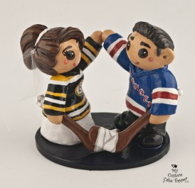 Bride And Groom Hockey Fans Cake Topper