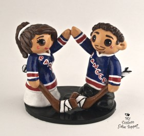 Bride And Groom Hockey Fans New York Rangers Cake Topper