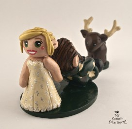 Bride Dragging Groom Hunting Cake Topper
